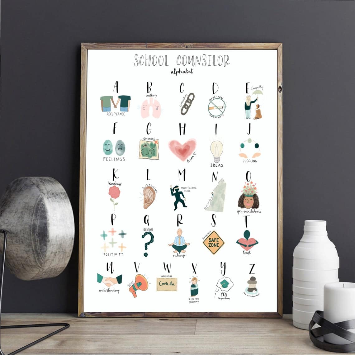 School Counselor Alphabet Print - counseling gift ABC office wall decor